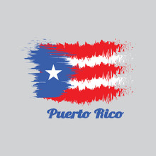 Brush Style Color Flag Of Puerto Rico, Horizontal White And Red Bands With Isosceles Triangle Based On The Hoist Side And White Star With Text Puerto Rico.