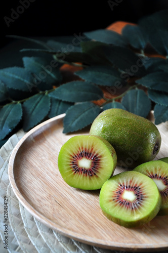Fresh Red Kiwifruit on Plate