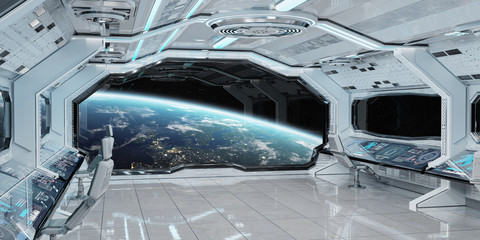 Fototapeta White clean spaceship interior with view on planet Earth 3D rendering