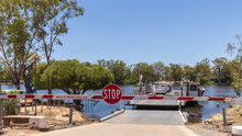Car Ferry Crossing The Flooded Murray River At Morgan In South Australia On A Sunny Day.