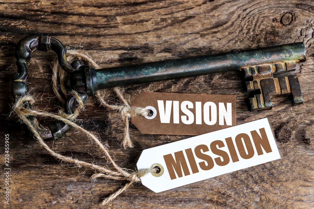Fototapeta labels key : vision and mission