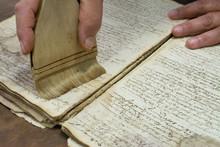 Restoration Laboratory. Dusting Old Book Conservation
