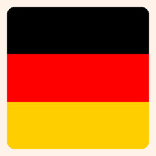 Germany Square Flag Button, Social Media Communication Sign, Business Icon.