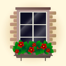 Red Flowers On Window Vector I...