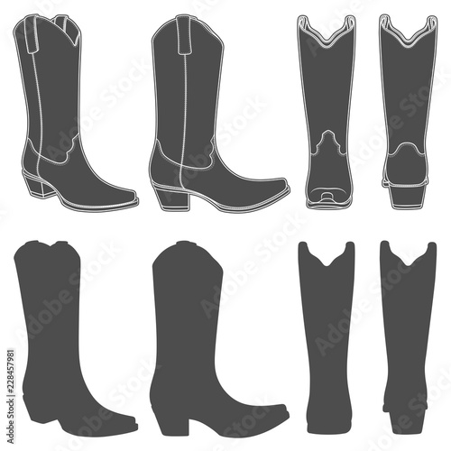 Vászonkép Set of black and white illustrations with cowboy boots