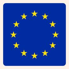 European Union Square Flag Button, Social Media Communication Sign, Business Icon.