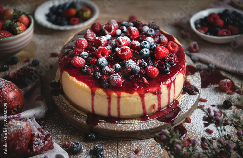 Cheesecake covered with mixed berries