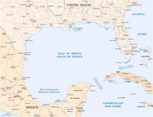 Gulf Of Mexico Road Vector Map