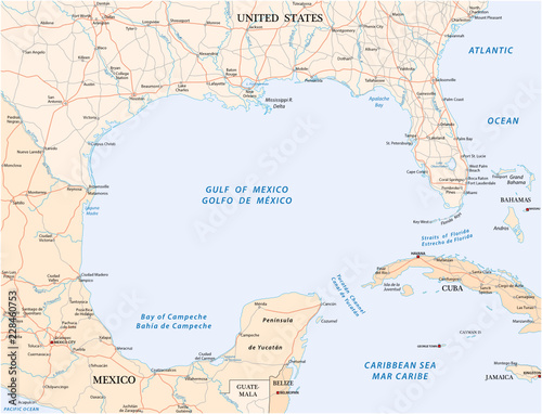 Golfo De Mexico Map.Gulf Of Mexico Road Vector Map Buy This Stock Vector And Explore