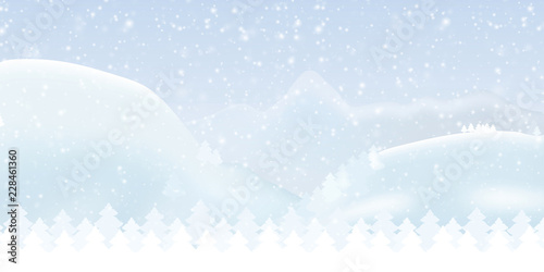 Vector illustration of a snowy winter mountain landscape with forest, sky and falling snow - suitable as a Christmas greeting card