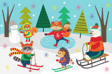 Poster Winter Fun With Animals In Forest  - Vector Illustration, Eps