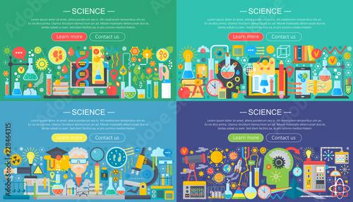 Fotografía  Science, laboratory flat color templates set