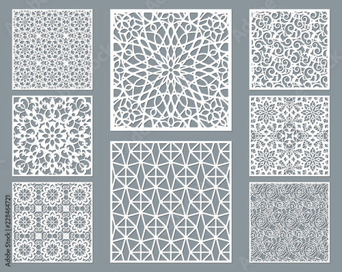 Valokuvatapetti Laser cut decorative panel set with lace pattern, square ornamental templates collection for die cutting or wood carving, element for wedding invitation card