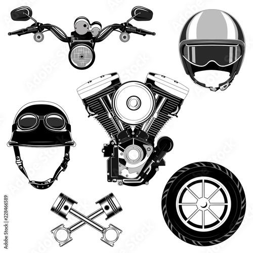Set Of Vector Images Motorcycle Engine Helmet Motorcycle Wheel