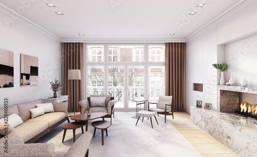 Blick In Wohnzimmer In Einem Altbau Apartment View Inside A Living