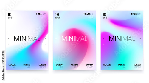 Obraz Abstract Vivid Colorful A4 Posters Set. Trendy Fluid Gradient - fototapety do salonu