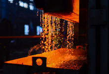 Heavy Industry Metallurgical Plant Sparks Stove Metall. Heavy Forging Plant.Oven. Water Curtain. Fire Furnace. For Abstract Background And Texture.
