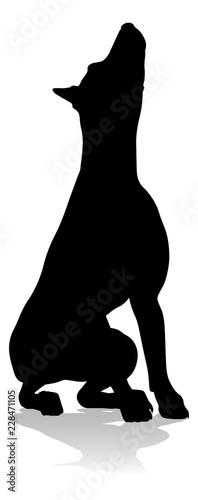 Cuadros en Lienzo A detailed animal silhouette of a pet dog