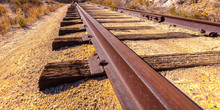 Train Track In The Sunny Desert In California