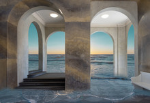 View Through The Window Of A Building To A Fantasy World Of A Sea With Setting Sun.
