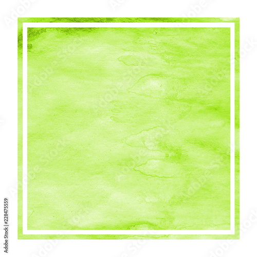 Light green hand drawn watercolor rectangular frame background texture with stains