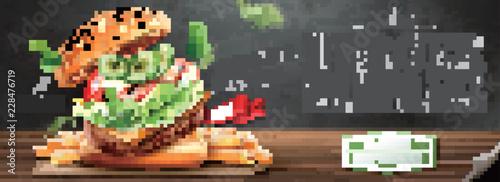 Leinwand Poster Delicious hamburger banner ads