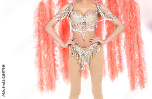Photo  Feather Wings with colorful decorative costume sexy for dancer cabaret Show girl