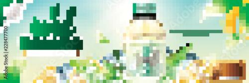 Fotografie, Obraz  Bottled green tea banner ads