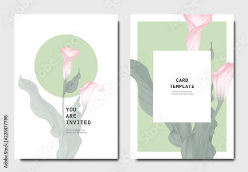 Fototapeta Botanical invitation card template design, pink calla lily flowers with leaves o