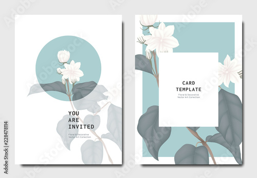 Botanical invitation card template design, white jasmine flowers with leaves on Poster Mural XXL