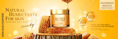 Natural honey skin care banner Billede på lærred