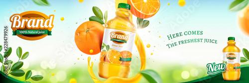 Fotografie, Obraz  Orange juice banner ads