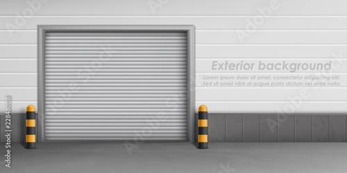 Obraz na plátně Vector exterior background with closed garage door, storage room for car parking