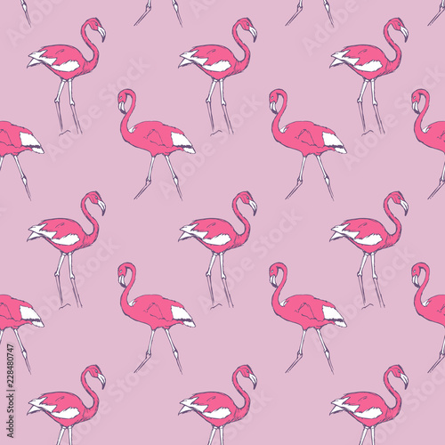 Canvas Prints Flamingo pattern with a rose and white flamingo on a pink background.