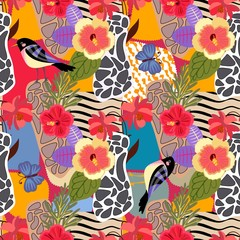 Tropical plants and flowers seamless pattern. Cute birds and big blue butterflies on patchwotk background with abstract animal print in vector. Fabric, paper, wallpaper, wrapping design.