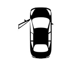 Big Black Car With Open Door, Top View Icon. Sport Car, Sedan, Small Mini Avto And City Automobile. Vector Illustration