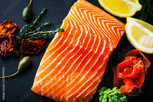 Fresh salmon with ginger and lemon Canvas Print