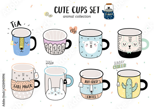 Super cute vector set of funny illustration a smiley coffee cups