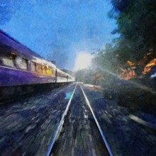 Hand Drawing Watercolor Art On Canvas. Artistic Big Print. Original Modern Painting. Acrylic Dry Brush Background.  Wonderful Landscape. Beautiful View. The Train Travels Fast At Vening Time.