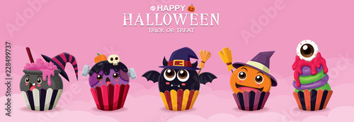 Photo  Vintage Halloween poster design with vector witch cupcake & ghost character