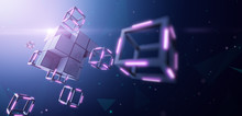 Blockchain Technology, Large Block Dismantles In To Small Cube