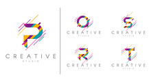 Letter Logo Set. Letter Design For Company Name - P, Q, R, S, T.  Abstract Letters Design, Made Of Various Geometric Shapes In Color.