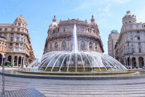 Fotografie, Obraz  Piazza De Ferrari fountain with buildings