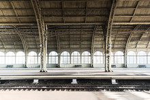 Railway Station Platform, Perron. Concept Of Railway Road, Travel, Adventure, Start Of Journey, Beginning.
