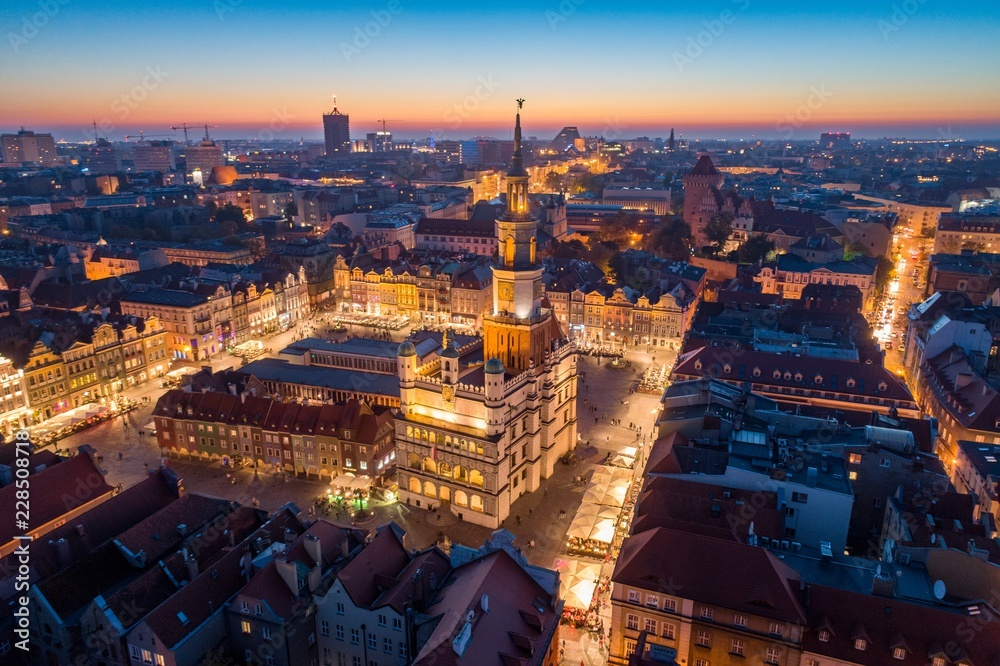 Fototapety, obrazy: Aerial view on Poznan main square and old city at evening.