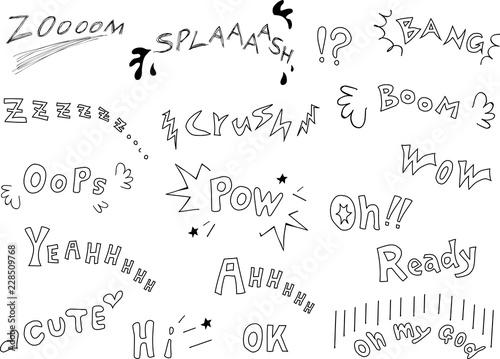 漫画 英語 効果音 手描き素材 Canvas Print