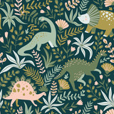Fototapeta Dinusie - Hand drawn seamless pattern with dinosaurs and tropical leaves and flowers. Perfect for kids fabric, textile, nursery wallpaper. Cute dino design. Vector illustration.