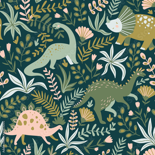Hand drawn seamless pattern with dinosaurs and tropical leaves and flowers Tableau sur Toile