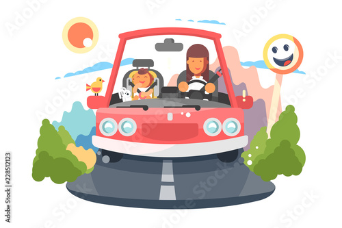 Fotografia, Obraz Safe driving mother with baby children car trip.