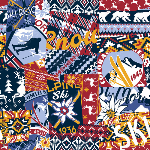 Photo  Alpine ski badges with nordic jacquard knitted patchwork wallpaper vector  seaml